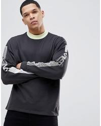 ASOS DESIGN Asos Oversized Sweatshirt With Contrast Ringer Sleeve Text Print