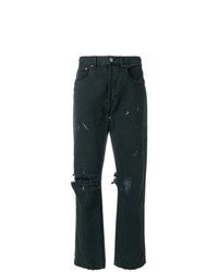 RE/DONE Distressed Paint Spattered Jeans