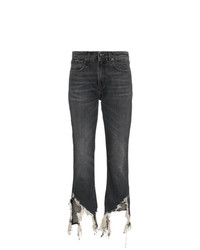 R13 High Waisted Cropped Distressed Jeans