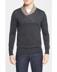 Charcoal Shawl-Neck Sweater