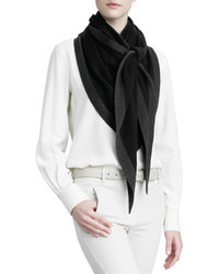 Loro Piana Scialle Twice Golden Knit Triangle Shawl Black