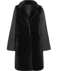 Layered shearling and wool blend coat charcoal medium 829159