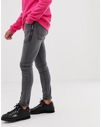 ASOS DESIGN Super Skinny Jean With Zip Detail In Washed Black