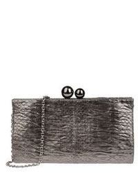 Charcoal Snake Leather Clutch