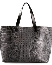 Charcoal Snake Leather Tote Bag