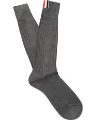 Thom Browne Ribbed Cotton Socks