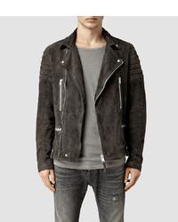 Charcoal Suede Biker Jacket