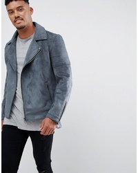 ASOS DESIGN Faux Suede Biker Jacket In Grey