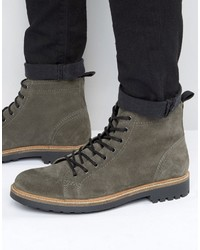 Lace up monkey boots in gray suede medium 1033644