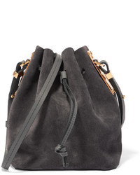 Sophie Hulme Nelson Small Suede Bucket Bag Gray