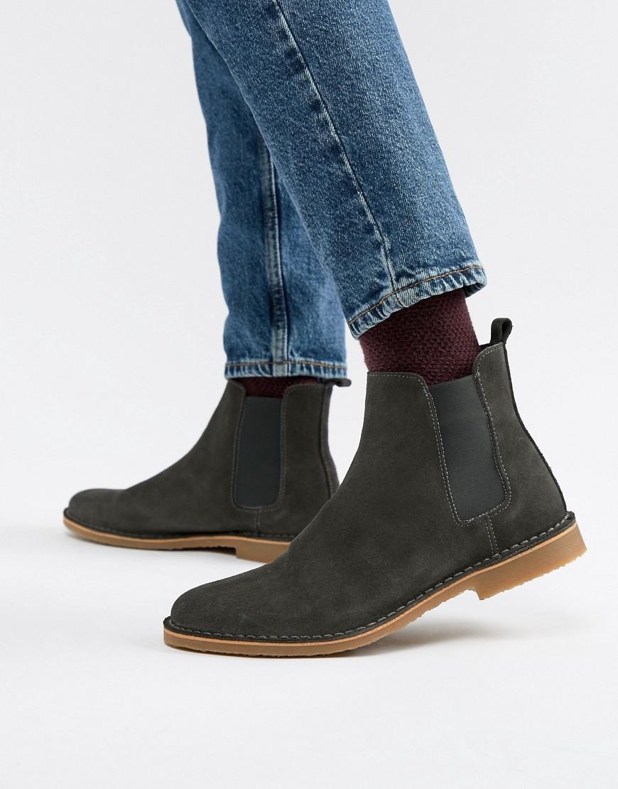 bd233bd94d1bd0 Office Iberian Chelsea Boots In Grey Suede, £65 | Asos | Lookastic UK