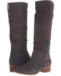 Charcoal Suede Knee High Boots