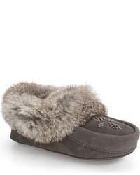 Manitobah Mukluks Genuine Rabbit Fur Moccasin