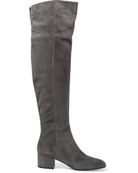 Gianvito Rossi 45 Suede Over The Knee Boots Gray
