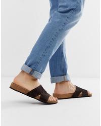 ASOS DESIGN Slider Sandals In Brown Suede