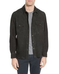 Charcoal Suede Shirt Jacket