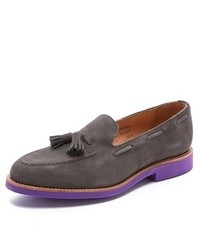 Charcoal Suede Tassel Loafers