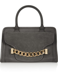 Kchain textured leather and suede tote medium 111540