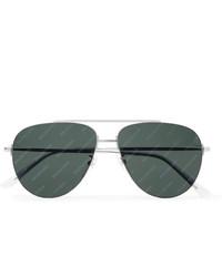 Balenciaga Aviator Style Logo Print Silver Tone Sunglasses