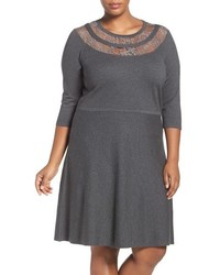 Vince Camuto Lace Yoke A Line Sweater Dress