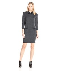 Milly Beaded Tuxedo Collar Sweater Dress