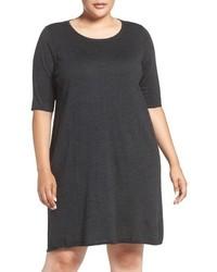 Eileen Fisher Plus Size Crewneck Merino Jersey Sweater Dress