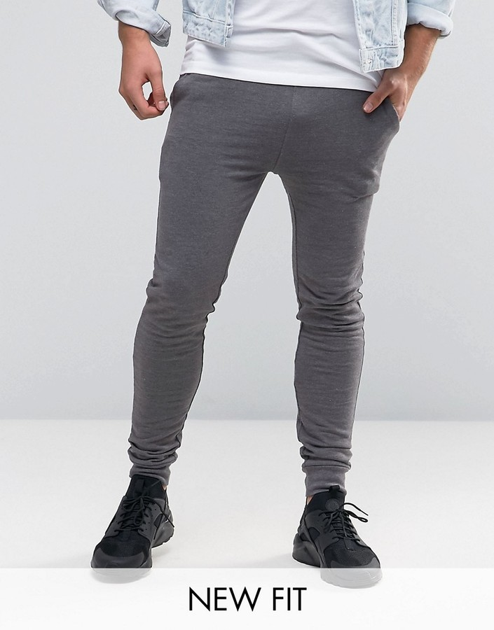sports shoes 3b70f 84d5e ... Asos Super Skinny Joggers In Charcoal Marl ...