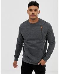 BLEND Sweatshirt With Zip Pocket In Grey