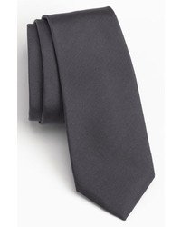 Calibrate Woven Silk Tie Charcoal Regular