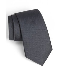 Calibrate Woven Silk Tie Charcoal X Long