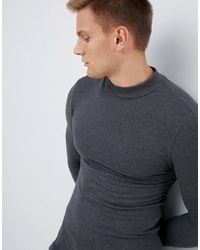 ASOS DESIGN Muscle Fit Long Sleeve T Shirt With Turtle Neck In Grey