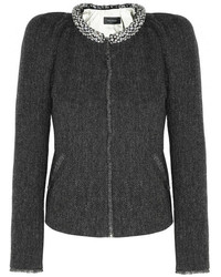 Isabel Marant Huntley Embellished Herringbone Tweed Jacket