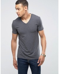 Asos Muscle Fit T Shirt With V Neck And Stretch In Gray