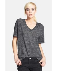 Leith Oversized V Neck Tee Charcoal Small