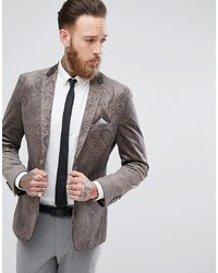 Harry Brown Dove Grey Velvet And Gold Embossed Skinny Fit Suit Jacket