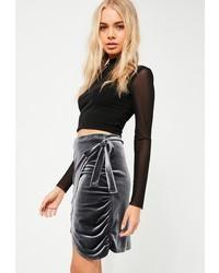 Charcoal Velvet Mini Skirt