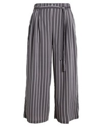 Striped cropped paperbag trousers grey medium 3898811
