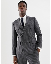 MOSS BROS Moss London Skinny Double Breasted Suit Jacket In Wool Mix Stripe