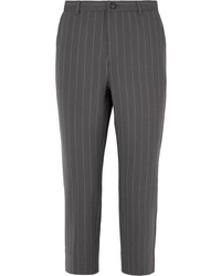Ganni Garvey Pinstriped Stretch Cady Straight Leg Pants