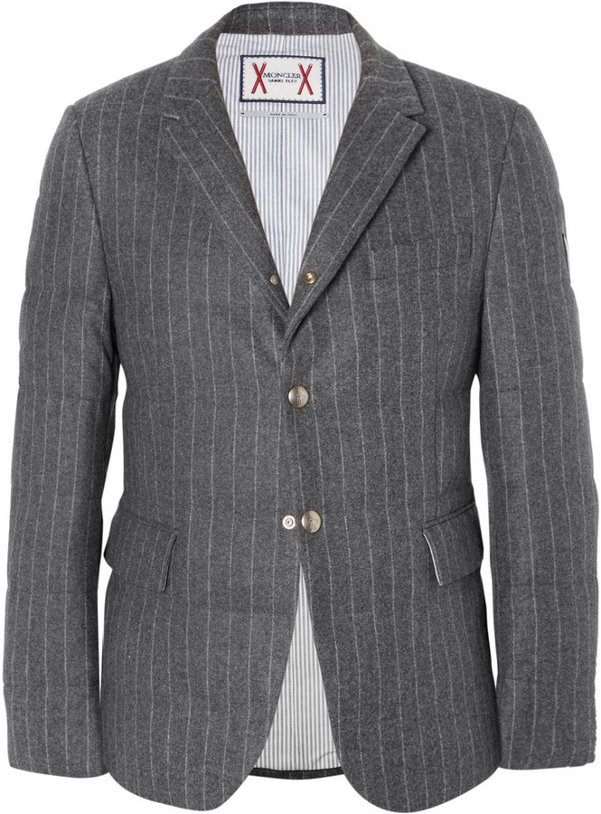 259d1d5ee Moncler Gamme Bleu Slim Fit Quilted Pinstriped Wool Down Jacket ...