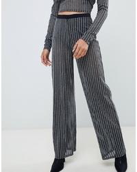 ASOS DESIGN Co Ord Silver Glitter Stripe Straight Leg Trousers