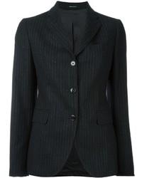 Charcoal Vertical Striped Wool Blazer