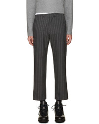 Charcoal Vertical Striped Wool Dress Pants