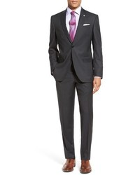 London jay trim fit stripe wool suit medium 783998
