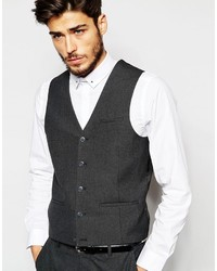 Asos Brand Vest With Square Hem In Charcoal