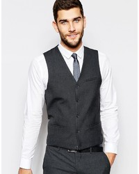 Asos Brand Wedding Vest In Charcoal
