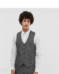 Noak Slim Fit Harris Tweed Waistcoat In Grey