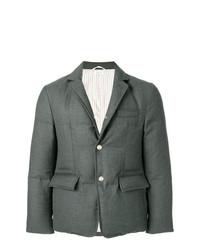 Thom Browne Center Back Stripe Down Filled Solid Wool Sport Coat