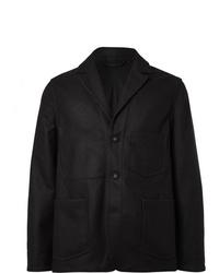 Officine Generale Charcoal Aris Slim Fit Unstructured Checked Virgin Wool Blend Blazer