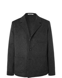 Massimo Alba Dark Grey Unstructured Mlange Wool And Cashmere Blend Blazer
